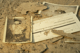 Life insurance papers in ashes